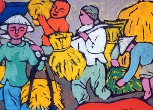 Scene from the Countryside by Thanh Hai, detail, gouache on paper.