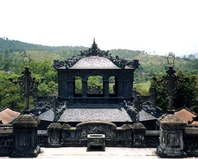 Looking out from Khai Dinh Masoleum, Hue, Vietnam.
