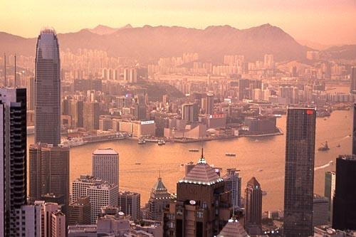 View from Victoria Peak at sunset.