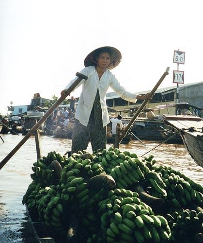 Bananas for sale, Cai Rang market near Can Tho, Mekong Delta, Vietnam.