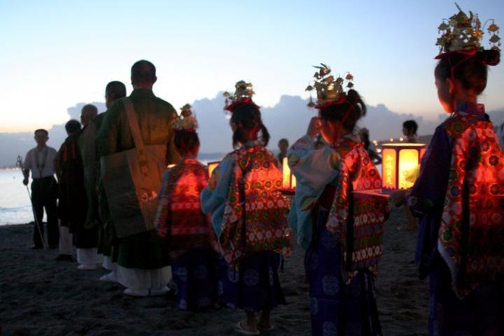 Bonbori lanterns will be placed in the sea to send to one's ancestors. Shown is Bon festival at Hayama Beach, Kanagawa, Japan