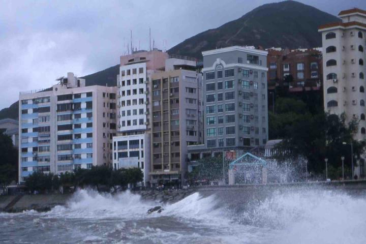 Typhoon Imbudo batters Stanley Village on Hong Kong Island.