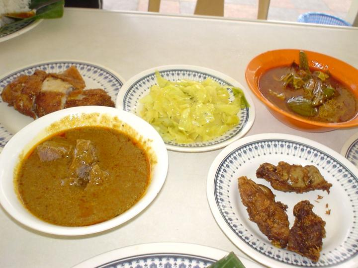 Some of the regular fare in a nasi kandar meal