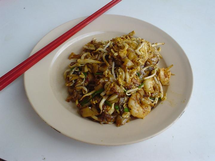 A plate of Char Kuey Teow (fried flat noodles)