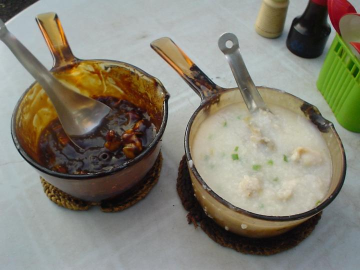 Frog cooked in tung po style, and frog porridge with sliced ginger