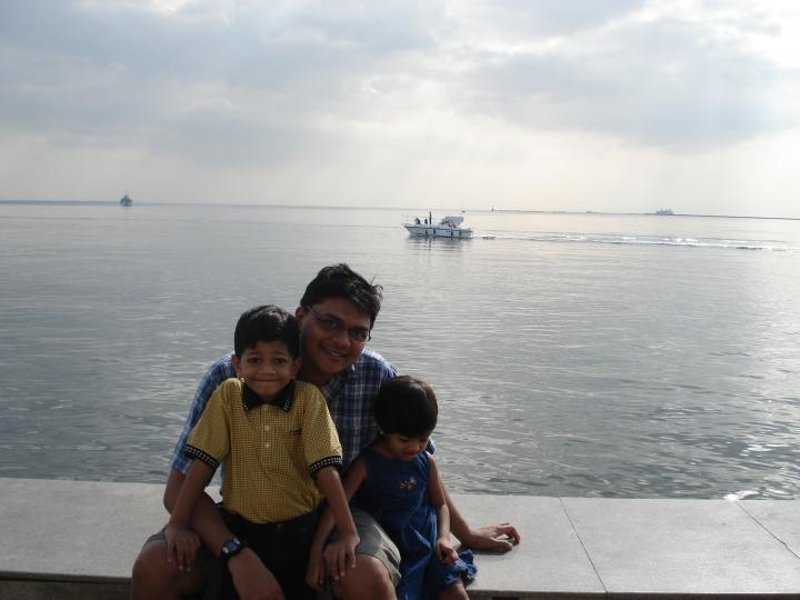 My hubby and kids at Baywalk