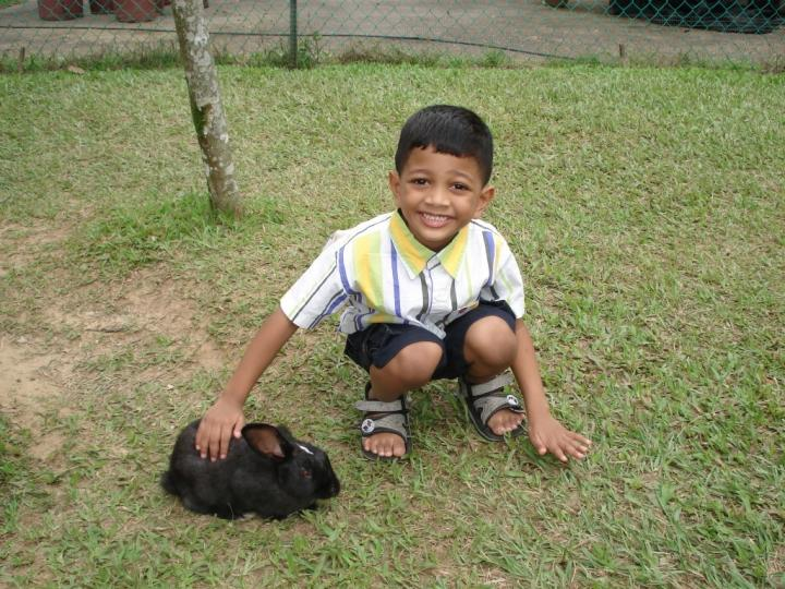 My son Kanthaprasad at the Rabbit Park
