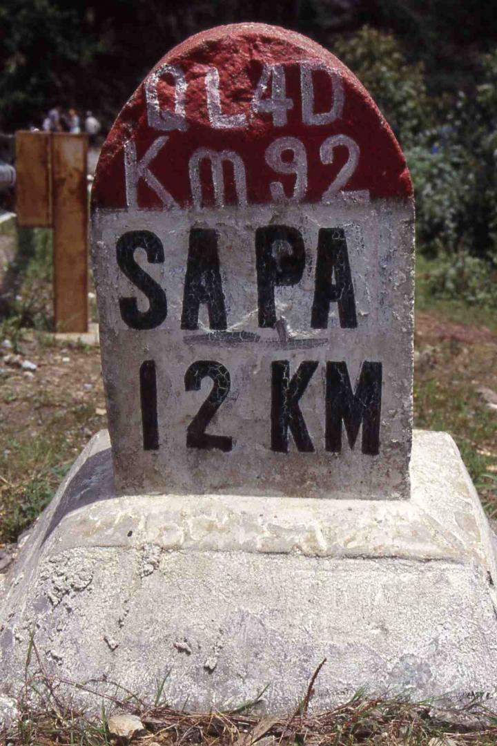 Milepost on Lao Cai to Sapa road.