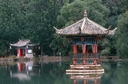 Lake pavilion in Black Dragon Pool Park. Lijiang, Yunnan, China.