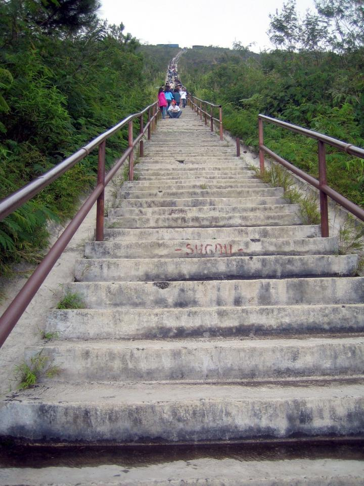 Going up the endless stairs to the peak of the Galunggung
