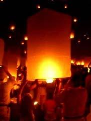 Hot air balloons or Khom Loy at the Loi Krathong Festival in Chiang Mai Thailand