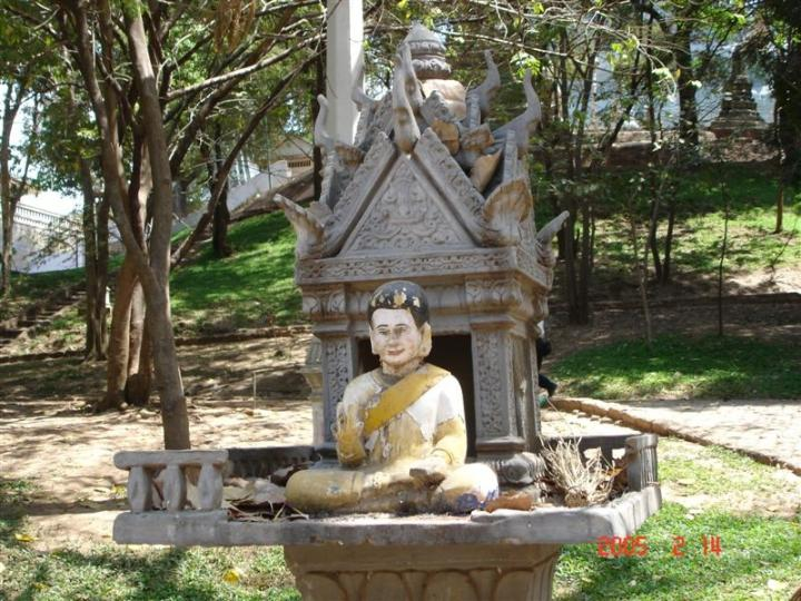 Spirit house and shrine, Wat Phnom, Phnom Penh, Cambodia.