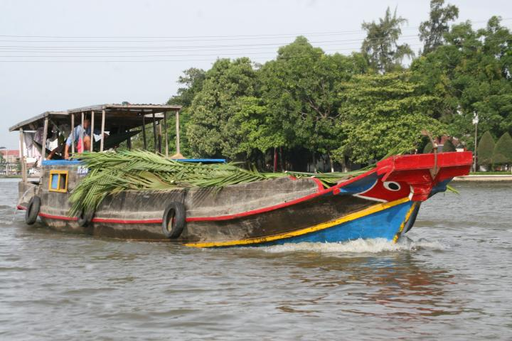 Wooden boats are the best way to transport things on the river. I'm carrying palm leaves to help build a house down the river