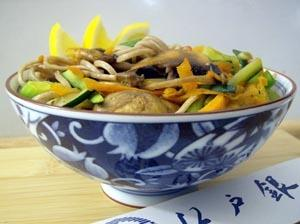 Chilled Buckwheat Soba with Wasabi Ponzu and Julienne Vegetables