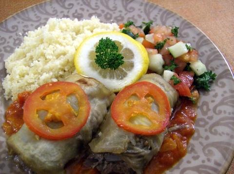 Lamb-Filled Eggplant Rolls with Fresh Tomato Sauce