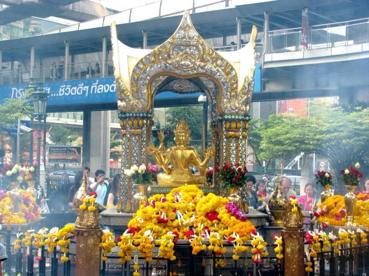 Statue of Phra Phrom, the Thai representation of the Hindu creation god Brahma, at Erawan Shrine