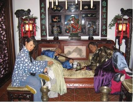 Opium Den display in the Shanghai City Museum