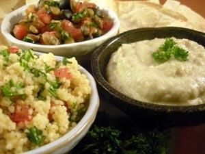 Tabouli, Roasted Garlic Mutabal and Lentil Salad
