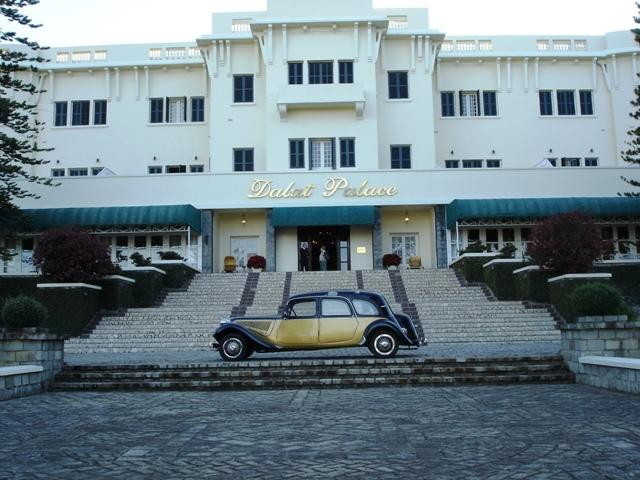 Front entrance to the Dalat Palace with 1953 Citroen.