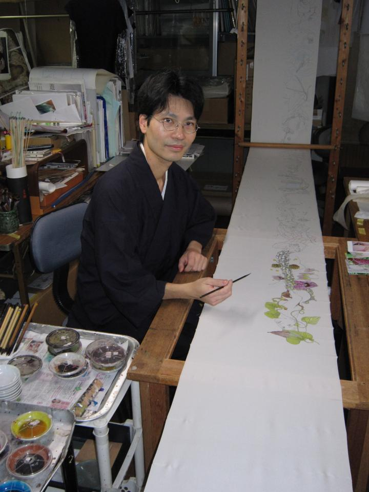 Me at Ishida Mansen Koujo, Kyoto learning yuzen dye painting on silk