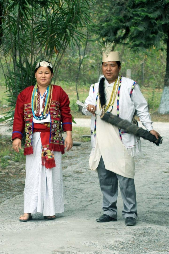 Aka Couple of West kameng district of Arunachal Pradesh in their traditional attire.
