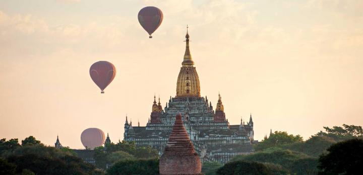 Balloons over Bagan temples, Myanmar