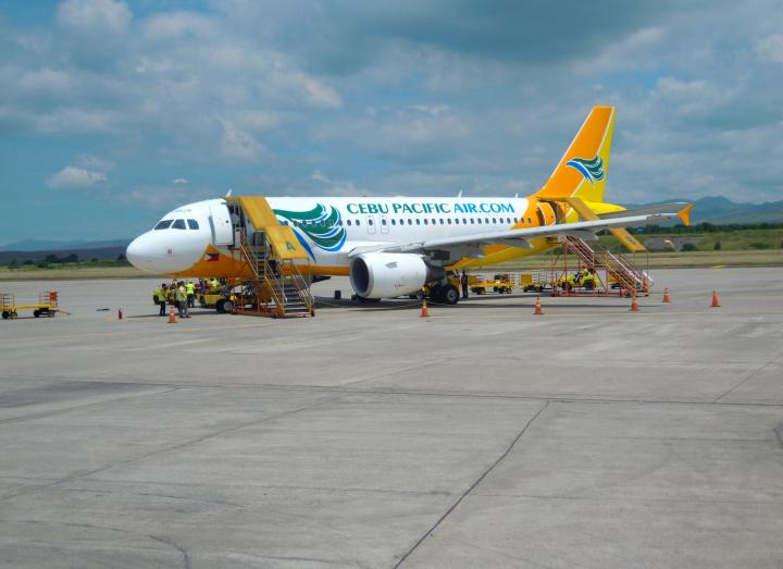 Flying with a Filipino touch. Cebu Pacific Airplane at General Santos City Airport