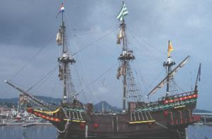 The good ship De Liefde, in Huis ten Bosch Harbour. Huis ten Bosch, Kyushu, Japan