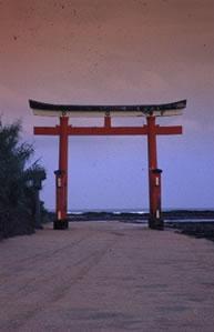 Torii gate, on Aoshima Island.Aoshima, Kyushu, Japan