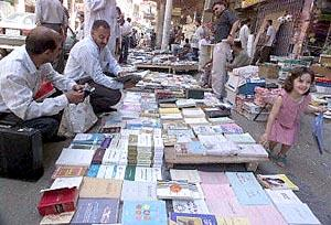 Second-hand and photocopied books for sale on the pavement of Baghdad's famous Mutanabbi street, a popular meeting place for booklovers on the Muslim weekend.