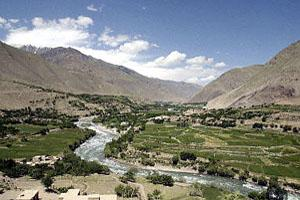 The Panjshir river winding through the valley of the same name in Afghanistan, some 170 kms from the capital Kabul.