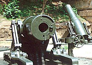 American 12-inch mortars at Battery Way. Fortress Corregidor, Philippines.