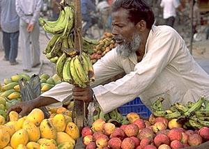 Fruit seller on the roadside, Nepalganj, Nepal.