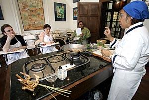 A class at the Blue Elephant cooking school in Bangkok, Thailand.