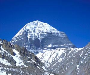 "The southern (or ""sapphire"") face of Mt. Kailash."