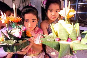 These Krathongs are released on the nearest body of water in a yearly offering to the Goddess of the water. Loy Krathong festival, Thailand.