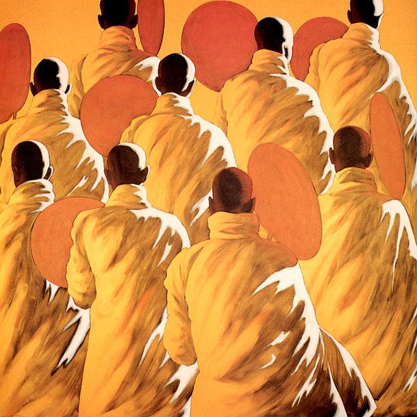 Nine Monks with Fans, 2001, Acrylic on canvas, 152.5 x 152.5 cm