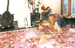 Flower blossom bath at the Royal Garden Resort.