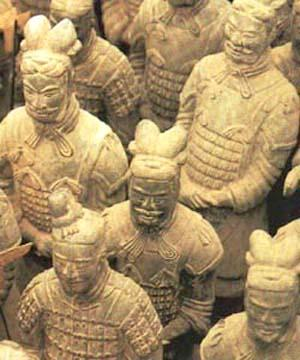 Terracotta soldiers protecting the first emperor of China.