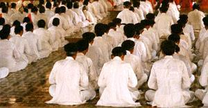 Noon service at the Cao Dai Temple, Tay Ninh, Vietnam.