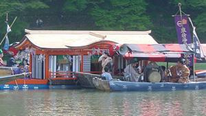 Floats on the river at Kyoto's Aoi Festival