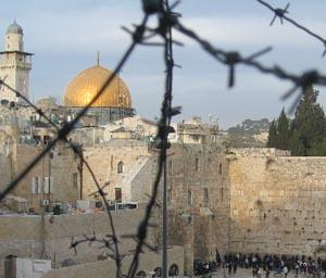 View of the Western Wall and the Dome of the Rock.