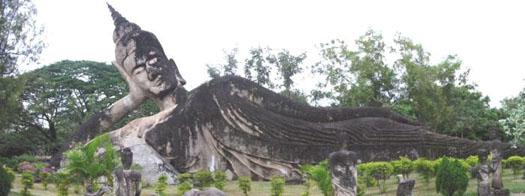 The reclining Buddha in the Lao park, the longest statue in either park.