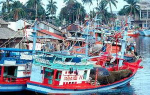 Colourful fishing boats line the waterfront, in Duong Ðong town, Phu Quoc, Vietnam.
