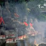 In the heart of Gunma Prefecture near Mt. Haruna, is the ancient temple known as Mizusawa, dedicated to Kannon, the goddess of mercy. Amid a cloud of incense, this visitor offers a prayer to the images of Fudosan, the patron saint of suffering.