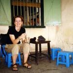 Enjoying a quiet drink in a Hanoi café.