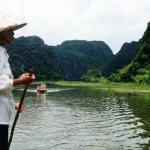 Boatwoman at Tam Coc, near Ninh Binh, Vietnam