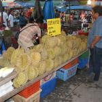 Durians at the Krabi night market in Thailand
