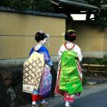 Maiko, or apprentice geisha, making the rounds of the Arashiyama district of Kyoto.
