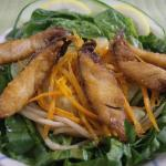 Spinach Salad with Crispy Mani-Mahi Skins